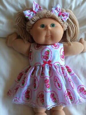 "DOLLS CLOTHES - DRESS & BOWS to fit 16"" CABBAGE PATCH ~ White ~ Pink Roses"