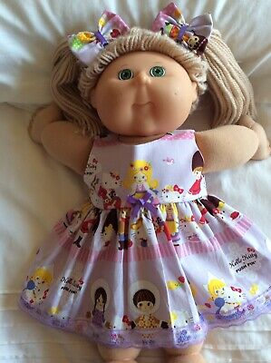 "DOLLS CLOTHES - DRESS & BOWS to fit 16"" CABBAGE PATCH ~ Mauve Hello Kitty"