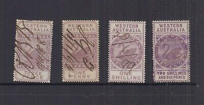 Western Australia 1881 1d-2/6 INTERNAL REVENUE-wmk 3- Elsmore Cat $27-U (4)