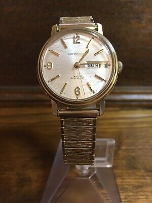 Vintage Caravelle Watch Day Date Wind Up watch Swiss Movement Goldtone Flex