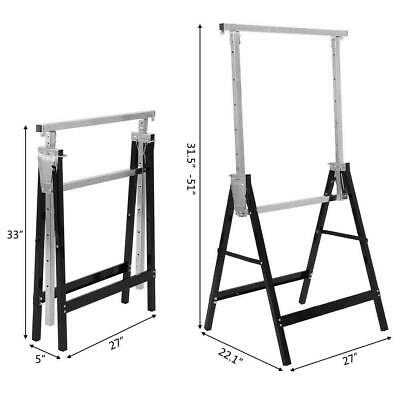 440LB 2 Pack Heavy Duty Saw Horse Steel Adjustable Height Foldable