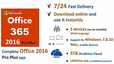 Microsoft Office365/2016 Pro Key 5PC/5TB/Windows, Mac/32,64BIT/License account