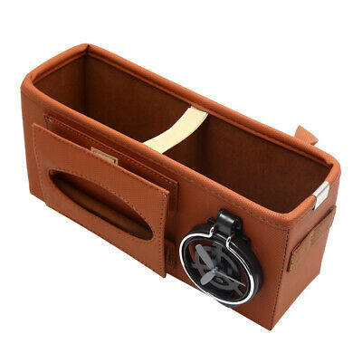 Car Seat Gap Phone Drink Cup Tissue Holder Box Storage Pocket Organizer Brown