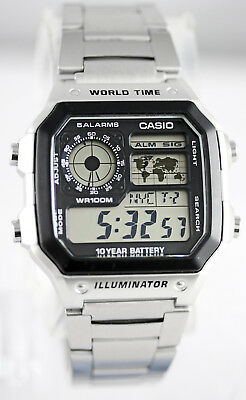 Casio AE1200WHD-1AV Steel Band Watch World Time 4 Time Zones 5 Alarms New