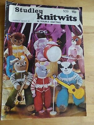 """Vintage Knitting Pattern, 1974, 6 Figures 19"""" Tall forming """"Knitwits"""" Rock Band"""