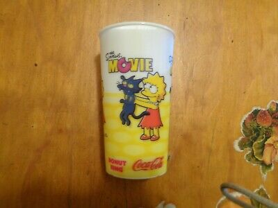 ***1 X The Simpsons Movie Plastic Cup By Donut King/coke 2007-Free Post**