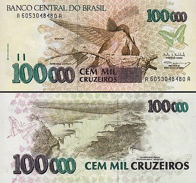 Brazil 100000 100,000 Cruzeiros 1993 , UNC , 20 Pcs LOT , Cons., P-235b, Sign 30