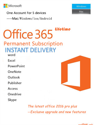 INSTANT - Microsoft Office 365 2016 2019 Pro Key Pc / Mac, Windows 5TB 5USER