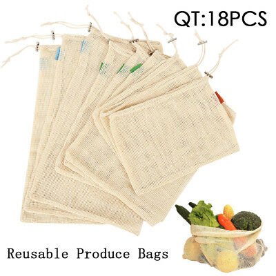 9-18X Reusable Eco Natural Cotton Mesh Bags Grocery Produce Storage Shopping AU