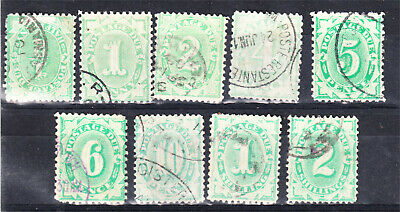 1902-9 Posatge Duesx 9 Different Complete At Base To 2/- Postally Used (H8)
