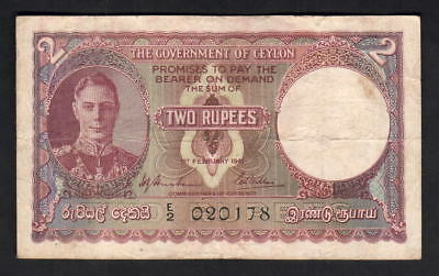Ceylon P-31. 1941 Two Rupees.. King George VI Portrait.. F+-aVF