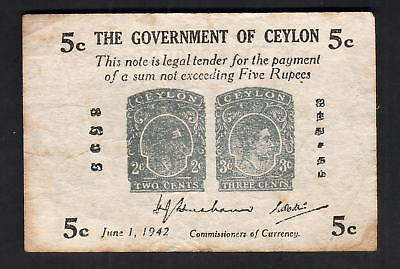Ceylon P-42a. 1942 Five Cents..  Fine