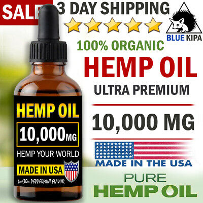 10000mg Organic Hemp Oil Extract Drops for Pain Relief Sleep Aid Supplement  USA