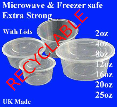 SATCO round plastic clear containers with lids extra strong microwave freezer