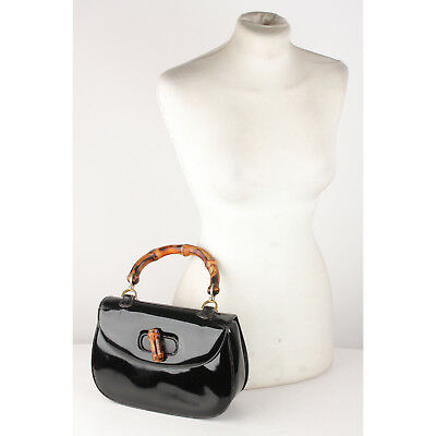 Authentic Gucci Vintage Black Patent Leather Bamboo Top Handle Bag