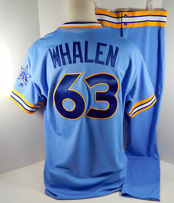 d5d76f3bdd6 2018 Seattle Mariners Rob Whalen  63 Game Issued Blue 1979 TBTC Jersey Pants