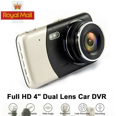 1080P Dual Lens UK 4'' Car DVR Dash Cam Video Recorder Front and Rear Camera LCD