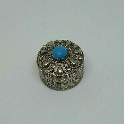 Unique Antique Vintage Sterling Silver Pill Box Full Hallmark Turquoise Stone