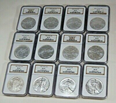 12 Silver Eagles Starter Set All NGC MS 69 Matching Labels Early & Better Dates!