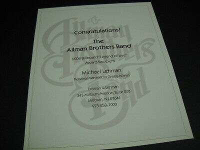 ALLMAN BROTHERS BAND Michael Lehman GREGG personal manager 2008 PROMO POSTER AD
