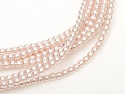 Soft Pink Czech Round Glass Pearl Strands - 2mm,3mm & 4mm Sizes