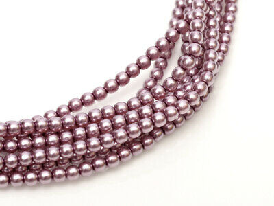 Orchid Czech Round Glass Pearl Strands - 2mm,3mm & 4mm Sizes
