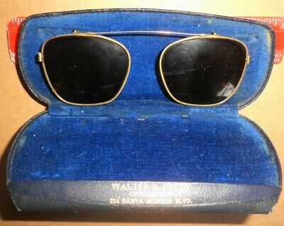 Cool Vintage Clip On Sun Glasses Gold Wire Rim Green Lens Aviator Style Design