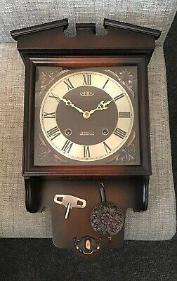 Wooden Long Case President 30 Day Wall Clock  - Wind Up Movement Key / Pendulum