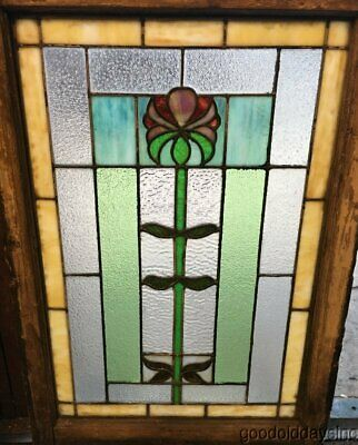 "Antique Chicago Arts & Crafts Stained Leaded Glass Window 35"" by 24"" Circa 1910"