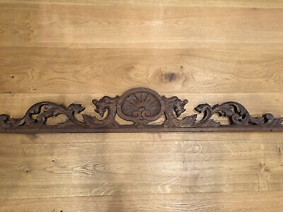 24997 Antique French Carved Wood Architectural Hunting Pediment
