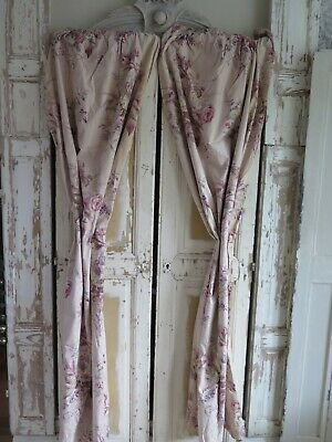 Frankreich Antik Rosen Vorhang - French Antique Curtain Cabbage Roses SHABBY