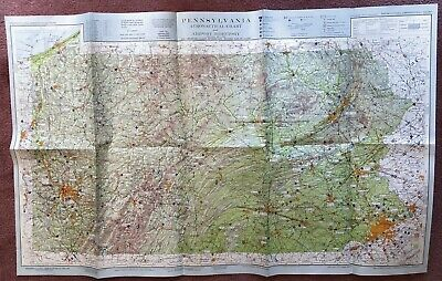 1963 Pennsylvania PA Aeronautical Chart Beautiful Colors Great Condition Large