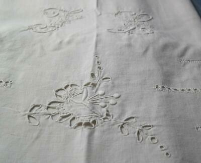 EXQUISITE ANTIQUE FRENCH PURE LINEN SHEET CUT WORK ORNATE JOUR MONOGRAM 1800's
