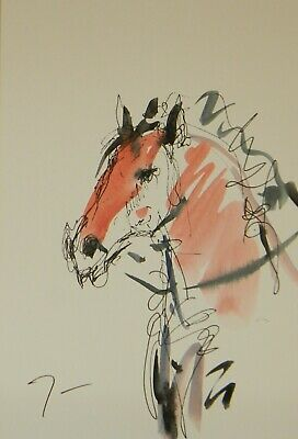 JOSE TRUJILLO ORIGINAL Watercolor Painting Abstract Expressionism 6x9 Horse Art