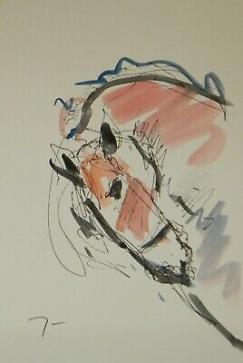 JOSE TRUJILLO ORIGINAL Watercolor Painting Abstract Expressionism 6x9 Equestrian