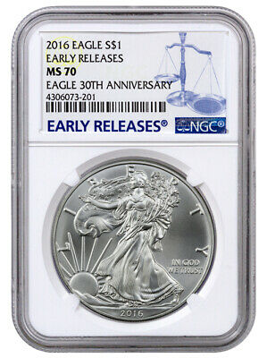 2016 1 Troy Oz American Silver Eagle NGC MS70 ER Early Releases SKU38423