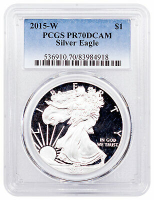 2015 W 1 oz Proof American Silver Eagle $1 PCGS PR70 DCAM SKU53647
