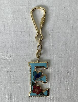 Enamelled Metal Keyring E - With Floral Motif & Suits All Ages of Girls / Women