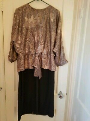 Vintage drop-waist dress gold black Lady Carol Petites Of New York 80s