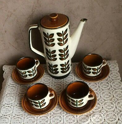 CAFETIERE + 4 TASSES + St   BOCH FRERES RAMBOUILLET SEVENTIES