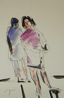 JOSE TRUJILLO ORIGINAL Watercolor Painting Abstract Expressionism 6x9 Figures