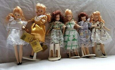 COLLECTIBLE VINTAGE 6 TINY DOLLS K COLLECTION with tags