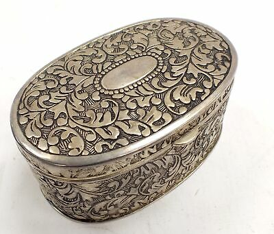 ANTIQUE/VINTAGE French Rococo Style Silver Plate JEWELRY/ TRINKET BOX - H26
