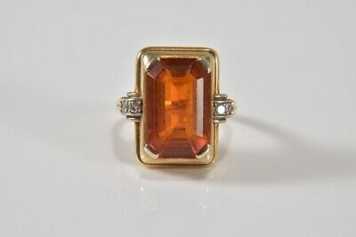 i37n04- Ring 585er Gold mit 4x Diamanten und Stein orange