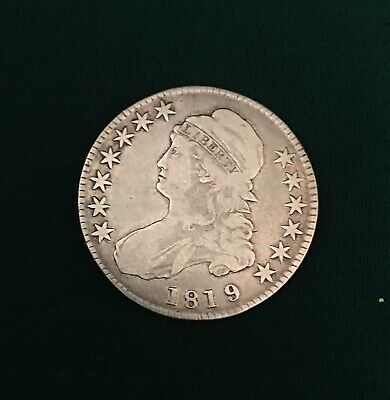 1819 Philadelphia Mint Silver Capped Bust Half Dollar. VF