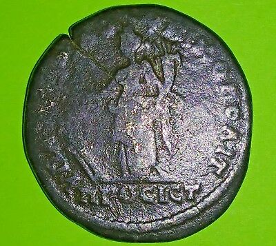 Large Roman Coin of Septimius Severus 193 AD city goddess Tyche boat rudder old