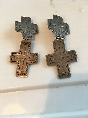 Vintage Sterling Silver Stamped Double Cross Earrings Dangle Silver Clip On