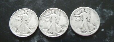 3 Walking Liberty Half Dollars