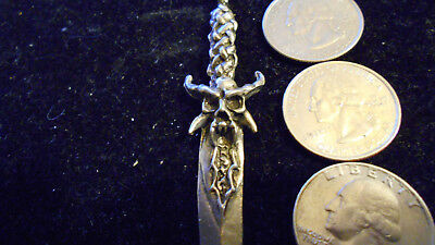 bling pewter demonic myth druid skull horn sword pendant charm necklace jewelry