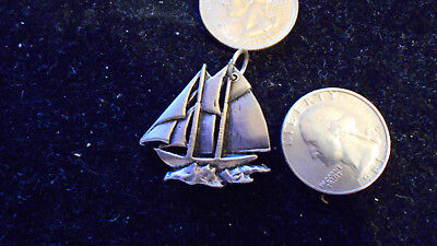 bling pewter beach sailor mariner boat sailboat pendant charm necklace jewelry